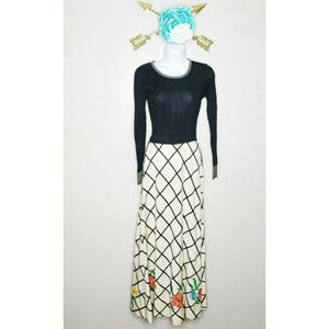 Vtg Carissa L.Magnin Windowpane Maxi Dress